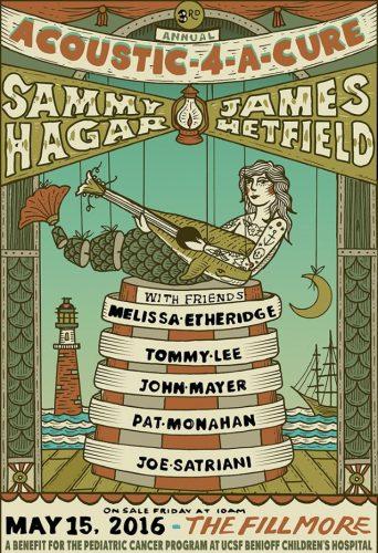 TOMMY LEE, JOE SATRIANI To Join JAMES HETFIELD, SAMMY HAGAR At 'Acoustic-4-A-Cure' Benefit Concert - @Blabbermouth.net #joesatriani #jameshetfield Artes & contextos acoustic4cure2016poster