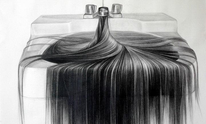 Graphite Hair Drawings by Hong Chun Zhang