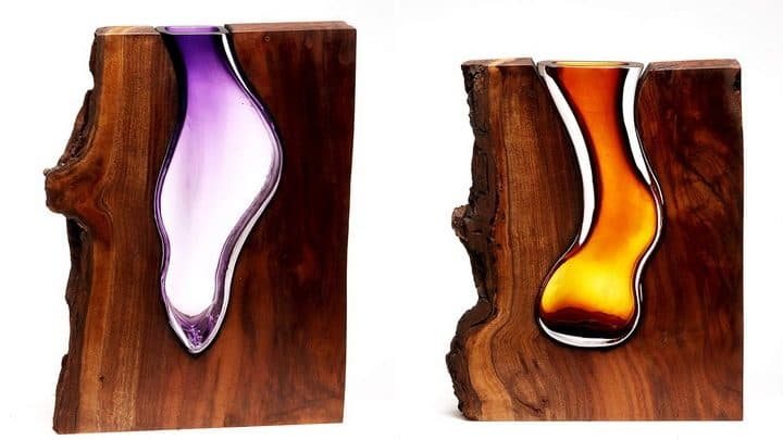 Glass Vases Formed Within Wooden