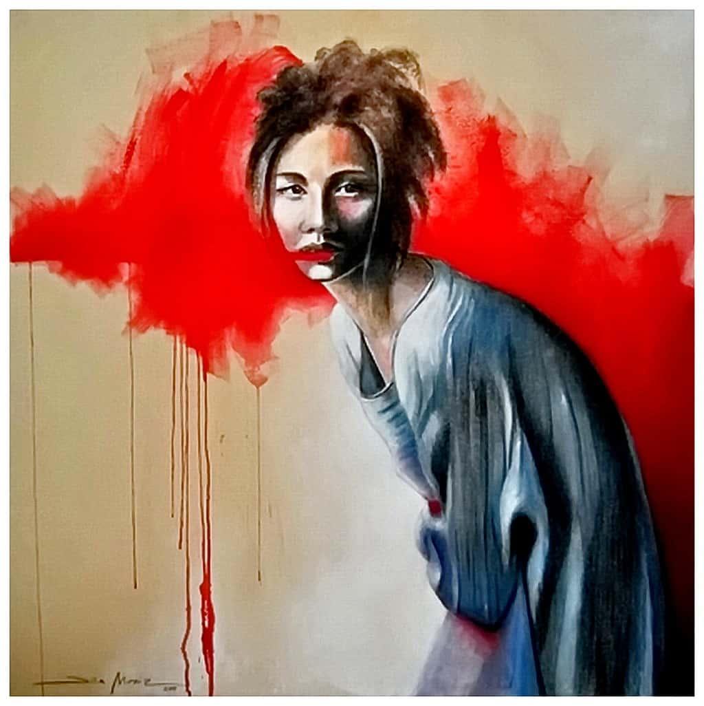 Dila Moniz - Grito Silenciado, Acrílico e Pano Cru sobre tela 120 x 120