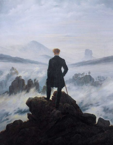 Paisagens Espirituais na arte de Juan Carlos Savater Artes & contextos Caspar David Friedrich Wanderer above the sea of fog 799x1024 1