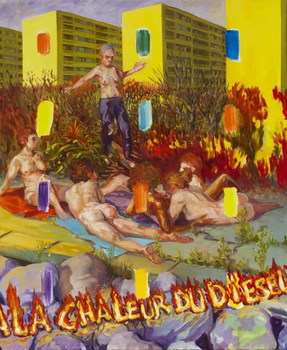 Enzo Certa - Forçar o vício Artes & contextos A la chaleur du diesel – huile sur toile – 2020 46 x 38cm